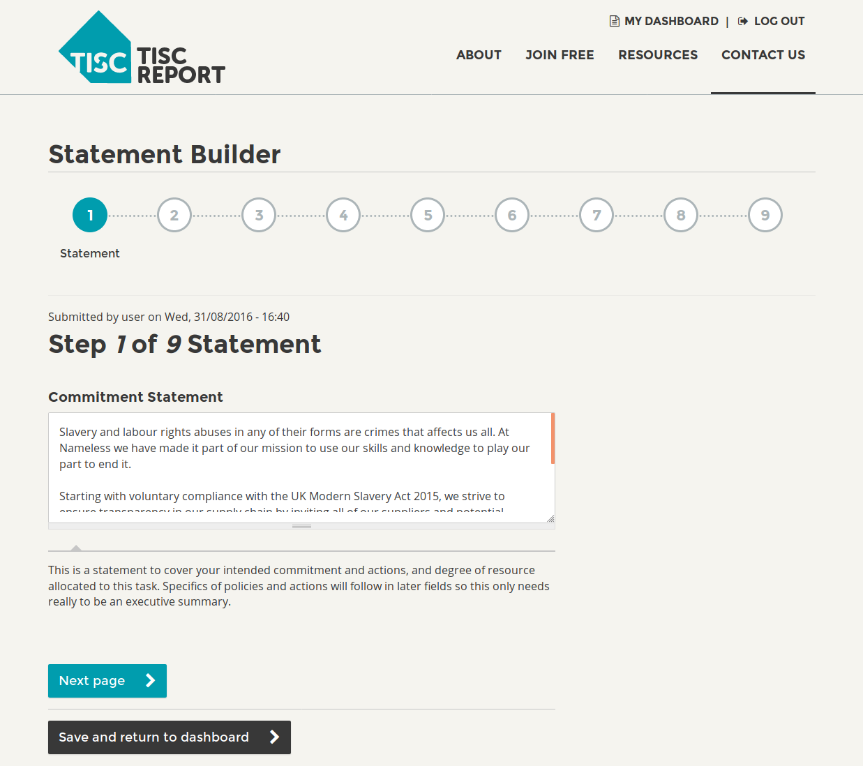 TISCreport Modern Slavery Statement Builder
